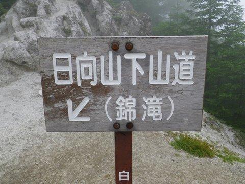 下山道の看板